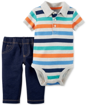 Carters 2Pc Cotton Striped Polo Bodysuit  PullOn Jeans Set Baby Boys (024 months)