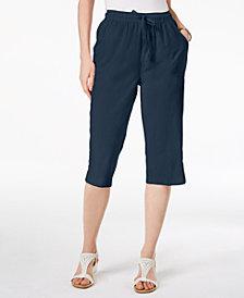 Karen Scott Petite Cotton Drawstring Capri Pants, Created for Macy's