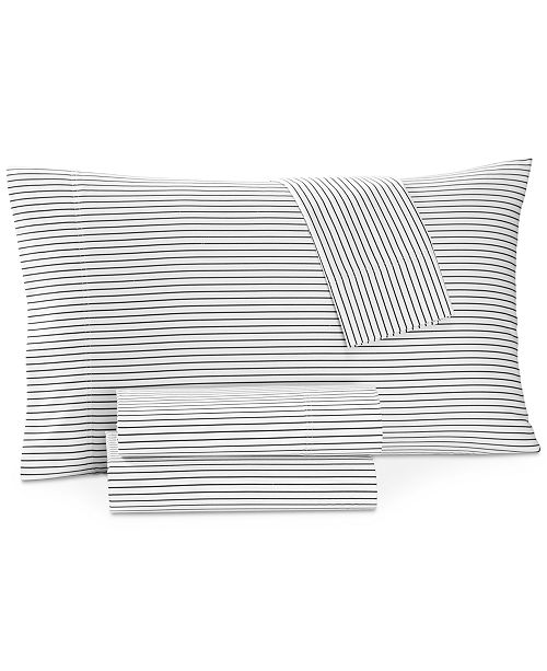 Charter Club Printed Pinstripe Twin 3-pc Sheet Set, 550 Thread Count, Created for Macy's