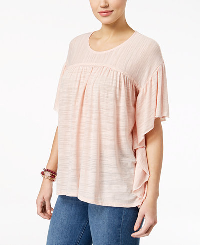 Style & Co Petite Flutter-Sleeve Poncho Top, Created for Macy's