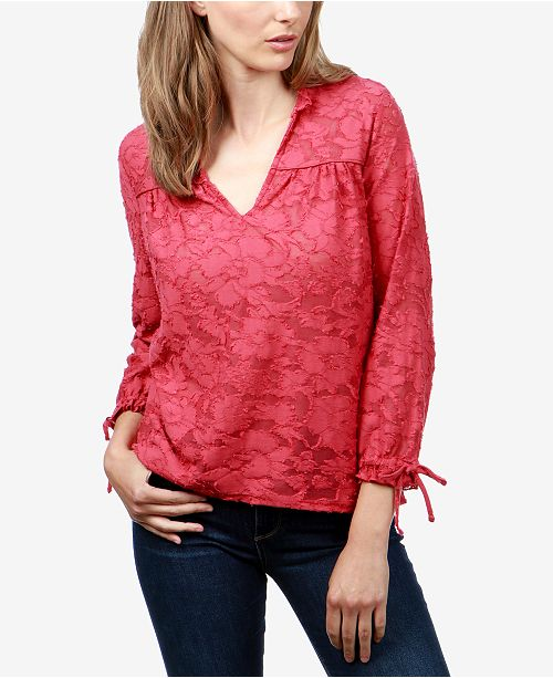 dcf5445fbe7 Lucky Brand Jacquard Tie-Sleeve Top & Reviews - Tops - Women ...