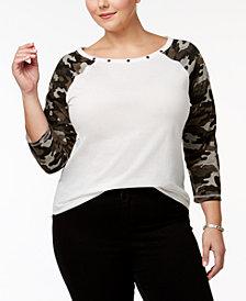 Almost Famous Trendy Plus Size Cotton Camo-Print T-Shirt