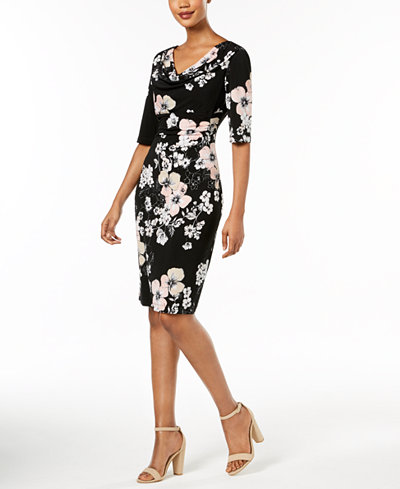 Connected Floral-Print Draped Sheath Dress