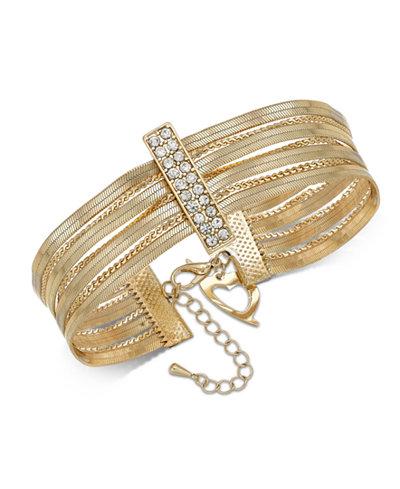 Thalia Sodi Gold-Tone Pavé Bar Multi-Row Flex Bracelet, Created for Macy's