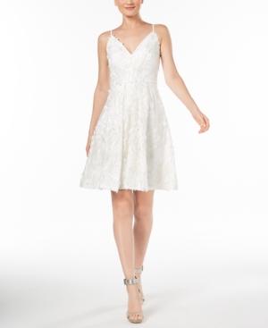 Calvin Klein  FLORAL-EMBELLISHED FIT & FLARE DRESS