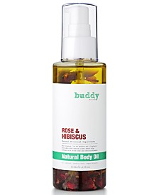 buddy scrub Rose & Hibiscus Natural Body Oil, 4.23 fl. oz.