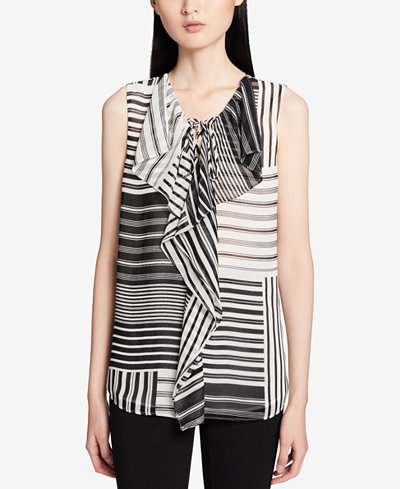 Calvin Klein Striped Ruffled Tie-Front Top