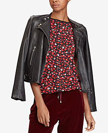 Lauren Ralph Lauren Petite Leather Moto Jacket
