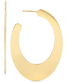 Hint of Gold Wide Polished Hoop Earrings in Gold-Plate