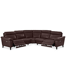 "CLOSEOUT! Pirello 5-Pc. ""L"" Shaped Leather Sectional Sofa with 2 Power Recliners with Power Headrests and USB Port, Created for Macy's"