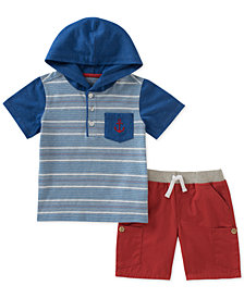 Kids Headquarters 2-Pc. Striped Hoodie & Cargo Shorts Set, Baby Boys