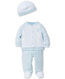 Little Me 3-Pc. Cotton Jacket, Footed Pants & Hat Set, Baby Boys