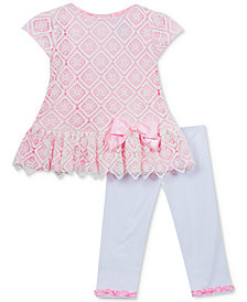 Rare Editions 2-Pc. Diamond Lace Tunic & Leggings Set, Baby Girls