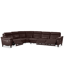 CLOSEOUT! Pirello 6-Pc. Leather Sectional Sofa With 3 Power Recliners with Power Headrests and USB Port, Created for Macy's