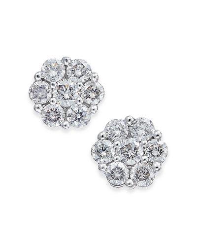Diamond Cluster Stud Earrings (1/3 ct. t.w.) in 14k White Gold
