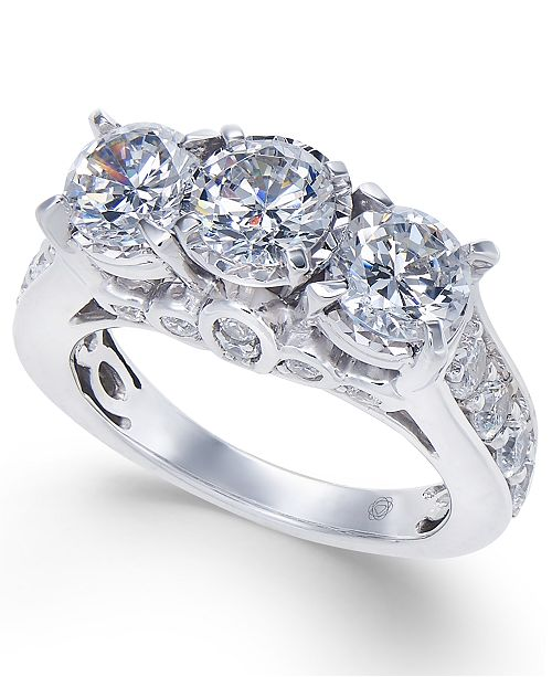 Macy's Diamond Trinity Engagement Ring (3 ct. t.w.) in 14k White Gold