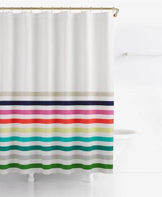"Candy Stripe Cotton 72"" x 72"" Shower Curtain"
