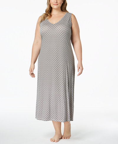 Alfani Plus Size Honeycomb-Print Nightgown, Created for Macy's
