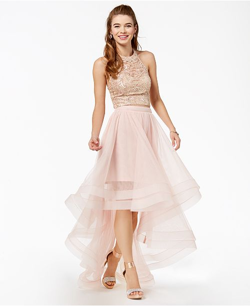de860cd0d27 ... Say Yes to the Prom Juniors  Embellished 2-Pc. Gown