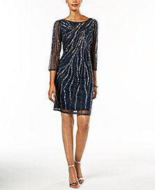 J Kara Beaded Mesh Dress