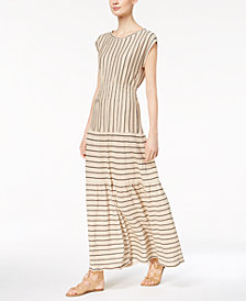 Marella Linen Mixed-Stripe Maxi Dress