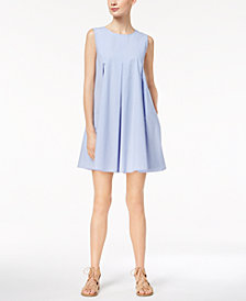 Marella Cotton Stretch Poplin Pleated A-Line Dress
