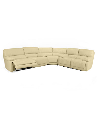 Nina 3 piece leather power reclining sectional sofa for Nina leather sectional sofa