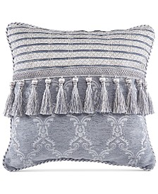 "Croscill Seren Chenille Damask Jacquard 16"" Square Decorative Pillow"