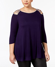 Plus Size Rhinestone-Studded Tunic Sweater