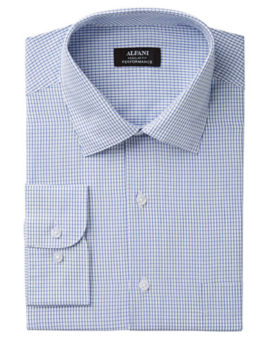 Alfani Men's Classic/Regular Fit Performance Stretch Easy-Care Medium Check Dress Shirt, Created for Macy's