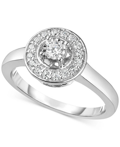 Diamond Halo Ring (1/4 ct. t.w.) in 10k White Gold