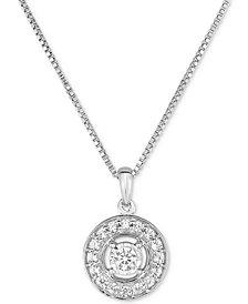 Diamond Halo Pendant Necklace (1/4 ct. t.w.) in 10k White Gold