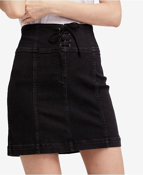 930d3bd082 Free People Modern Femme Lace-Up Denim Mini Skirt & Reviews - Skirts ...