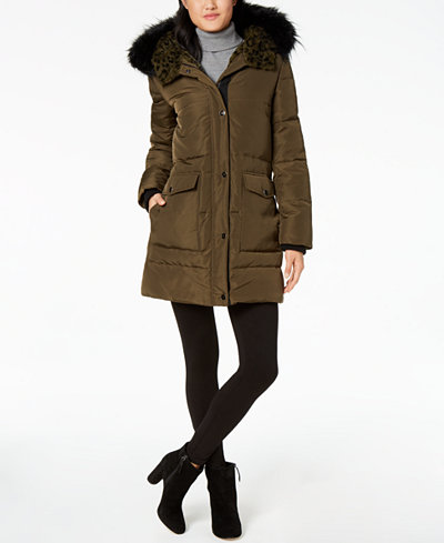Kenneth Cole Faux-Fur-Lined Hooded Coat - Coats - Women - Macy's
