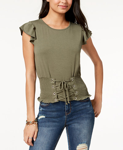 American Rag Juniors' Cropped Corset Top, Created for Macy's