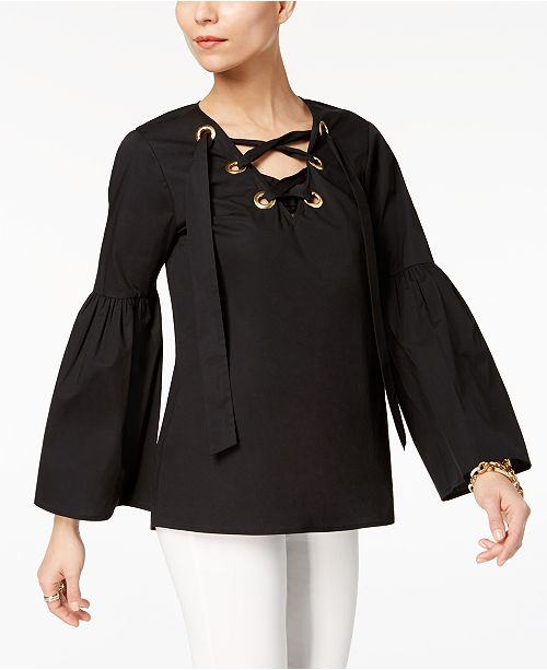 11202f9aac48f Michael Kors Lace-Up Bell-Sleeve Top   Reviews - Tops - Women - Macy s