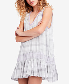 Free People Run With Me Cotton Plaid Mini Dress