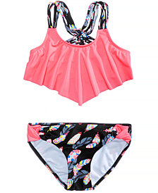 Summer Crush 2-Pc. Flounce-Top Bikini Swimsuit, Big Girls