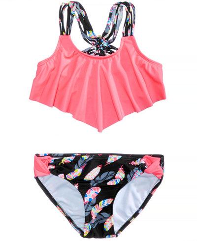 Summer Crush 2-Pc. Flounce-Top Bikini Swimsuit, Big Girls