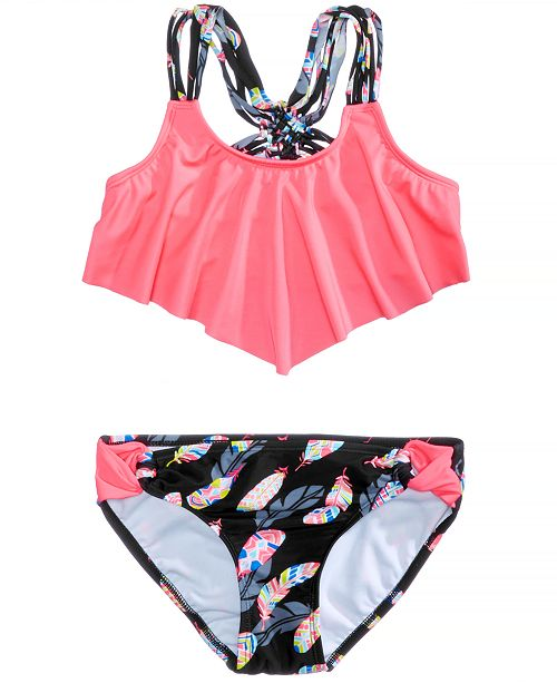 46e478ce7f91a Summer Crush 2-Pc. Flounce-Top Bikini Swimsuit, Big Girls ...
