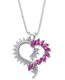 Ruby (1 ct. t.w.) & Diamond Accent Heart Pendant Necklace in Sterling Silver