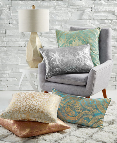 LAST ACT! Lacourte Faux-Linen Metallic-Print Decorative Pillow Collection, Created for Macy's