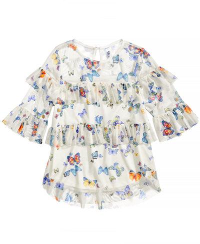Beautees Butterfly-Print Ruffled Top, Big Girls