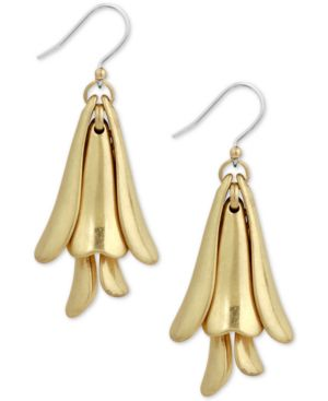 Lucky Brand Gold-Tone Petal Drop Earrings