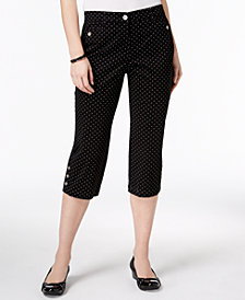 Karen Scott Petite Dot-Print Capri Pants, Created for Macy's