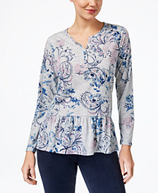 Style & Co Printed Peplum Henley, Created for Macy's