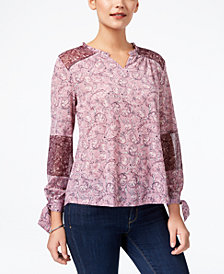 Style & Co Petite Patchwork Tie-Cuff Top, Created for Macy's