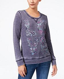 Style & Co Puff Paint Burnout Sweatshirt