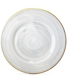 Jay Import Alabaster Glass Charger Plate With Gold-Tone Rim