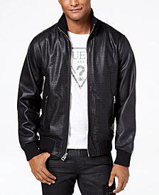 GUESS Men's Perforated Bomber Jacket